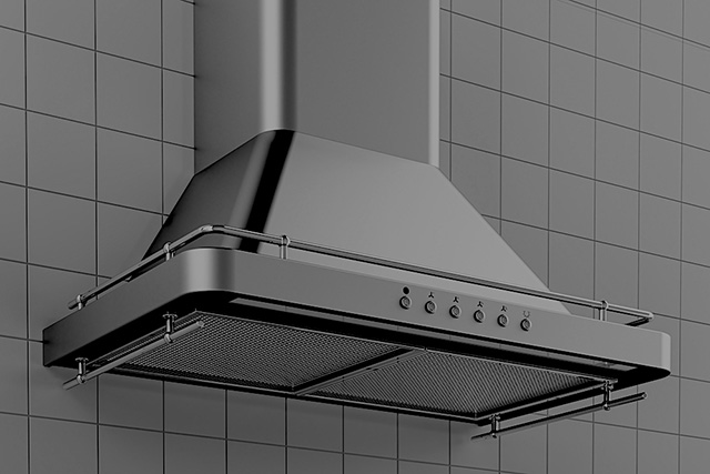 3D rendering of kitchen exhaust hood in kitchen interior